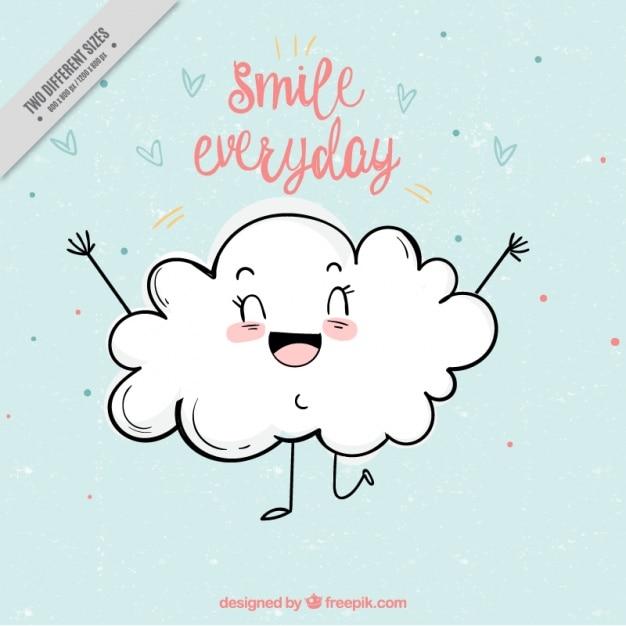 Śliczne tło z uśmiechem chmurze Darmowych Wektorów