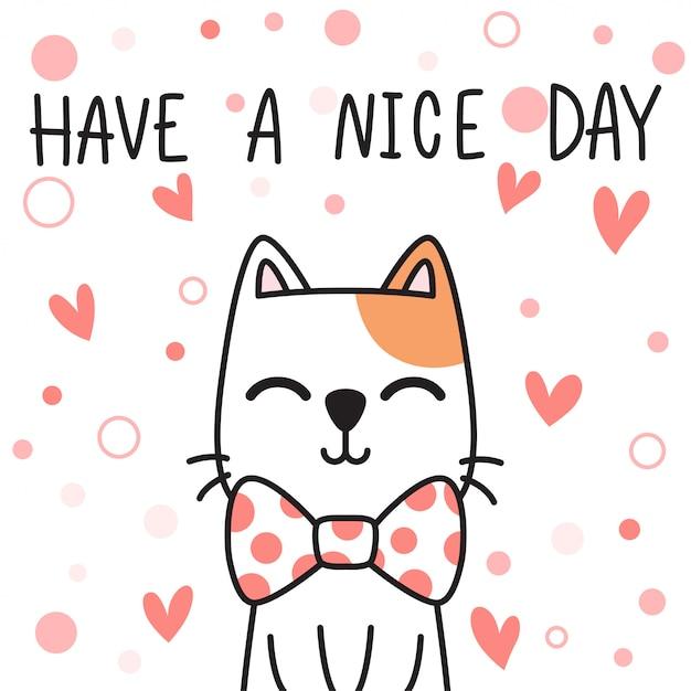 Śliczne Urocze Ręcznie Rysowane Baby Kot Kotek Rodzinne Powitanie Kreskówka Doodle Premium Wektorów