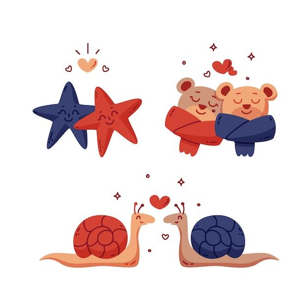 Śliczne Walentynkowe Pary Zwierząt Ze ślimakami I Niedźwiedziami Darmowych Wektorów