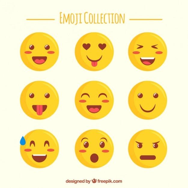 Śliczne Wybór Płaskiej Emotikony Darmowych Wektorów