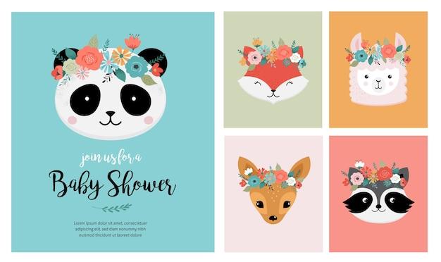 Śliczne Zwierzęta Głowy Z Koroną Kwiatów, Ilustracje Wektorowe Dla Kart Okolicznościowych Projektu Przedszkola. Panda, Lama, Lis, Koala, Kot, Pies, Szop I Króliczek Premium Wektorów