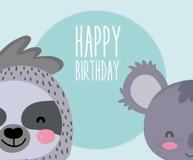 Śliczne Zwierzęta Wszystkiego Najlepszego Z Okazji Urodzin Karciana śliczna Kreskówka Premium Wektorów