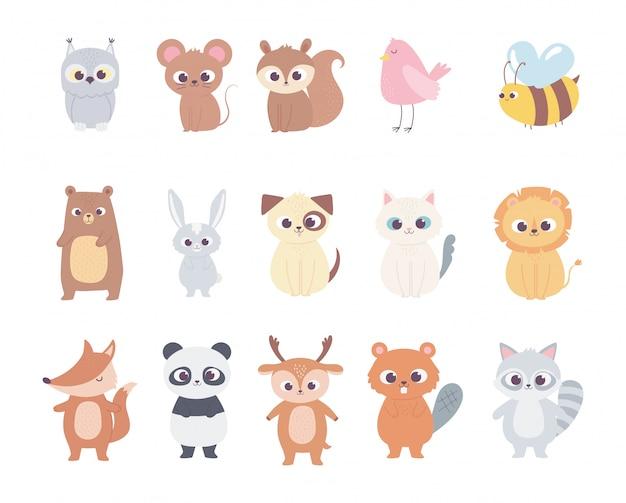 Śliczne Zwierzęta Z Kreskówek Małe Postacie Sowa Mysz Wiewiórka Jeleń Ptak Pszczoła Niedźwiedź Kot Pies Lew Premium Wektorów