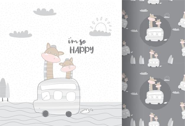 Śliczne Zwierzęta żyrafa Podróży Autobusem Wzór Premium Wektorów