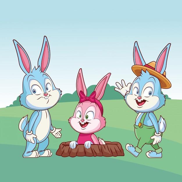 Ślicznego Easter Królika Przyjaciół Szczęśliwa Królika Dziura Na Naturze Premium Wektorów