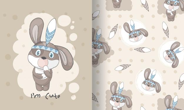 Ślicznego szczeniaka plemienna bezszwowa deseniowa ilustracja dla dzieciaków Premium Wektorów
