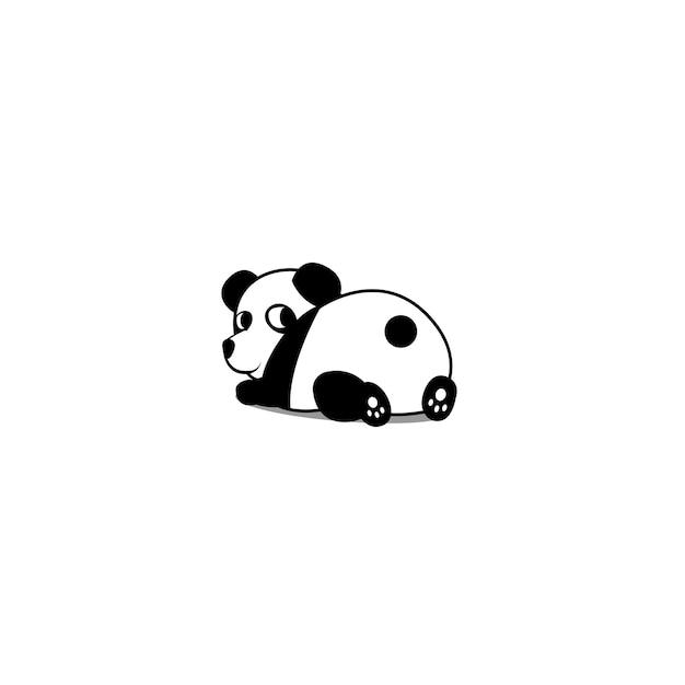 Ślicznej Pandy łgarski Puszek I Przyglądająca Wektorowa Ilustracja Premium Wektorów