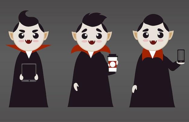 Śliczni Chłopcy-wampiry Z Tech I Kawą Premium Wektorów