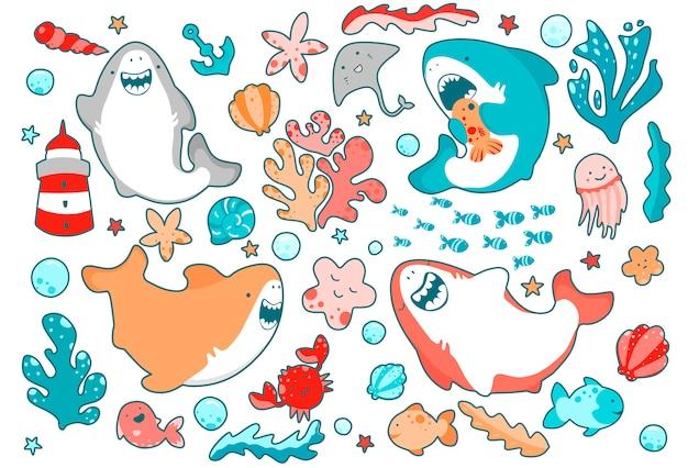 Śliczni Morscy Bohaterowie, Zabawne Rekiny, Emocjonalny Uśmiech, Pływanie W Oceanie Wśród Glonów. Premium Wektorów