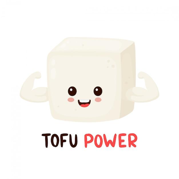 Śliczni szczęśliwi uśmiechnięci silni tofu przedstawienia mięśnia bicepsy. wektorowego płaskiego postać z kreskówki ikony ilustracyjny projekt. pojedynczo na białym tle. karta mocy tofu, wegańska, wegetariańska koncepcja zdrowego odżywiania Premium Wektorów