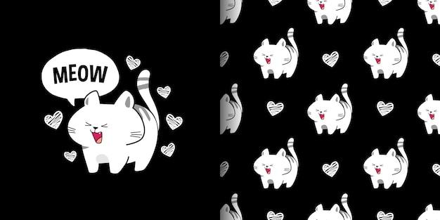 Śliczni Ziewający Biali Koty Na Czarnego Tła Bezszwowym Wzorze Premium Wektorów