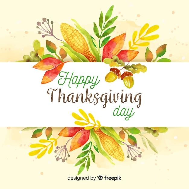Śliczny Akwareli Dziękczynienia Tło Darmowych Wektorów