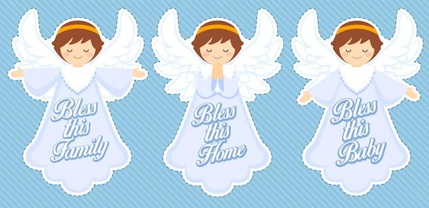 Śliczny Anioł Błogosławieństwa, Dekoracja Chłopca Premium Wektorów