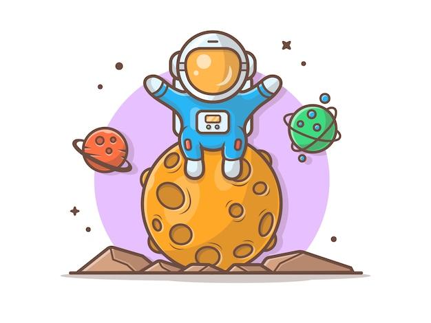 Śliczny astronauta obsiadanie na księżyc z planety ilustracją Premium Wektorów