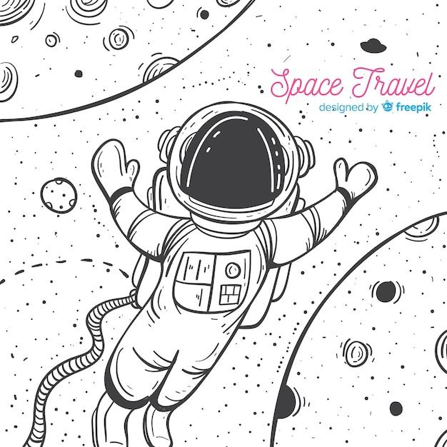 Śliczny astronauta rysujący ręka charakter Darmowych Wektorów