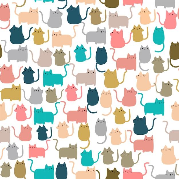 Śliczny bezszwowy deseniowy szczęśliwy kiciunia figlarki kot Premium Wektorów