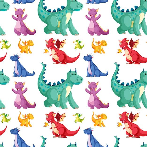 Śliczny Bezszwowy Dinosaura Wzór Darmowych Wektorów