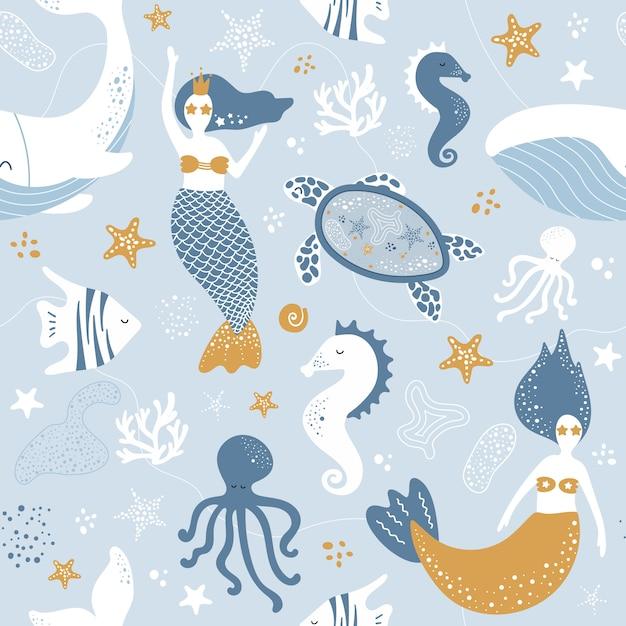 Śliczny bezszwowy morze wzór z syrenami, wielorybami i ośmiornicami Premium Wektorów