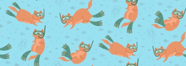 Śliczny Bezszwowy Wzór Z Pływackimi Kotami Otaczającymi Ryba I Jellyfishes Premium Wektorów