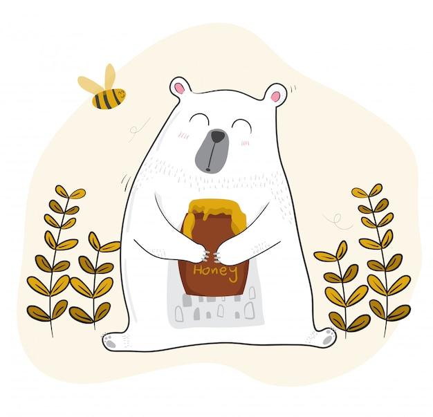 Śliczny biały niedźwiedź ma miód z małą pszczołą Premium Wektorów