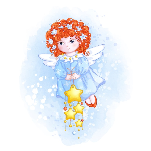 Śliczny bożonarodzeniowy anioł z czerwonymi kędzierzawymi włosami i gwiazdowym ornamentem. Premium Wektorów