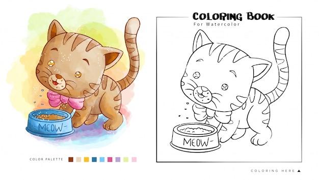 Śliczny Brown Kotek Je Ich Jedzenie, Kreskówki Ilustracja Dla Akwareli Kolorystyki Książki Premium Wektorów