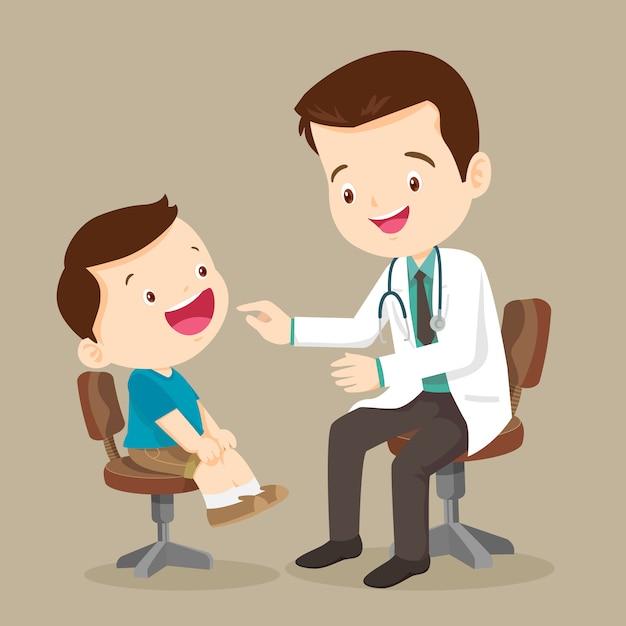 Śliczny Chłopiec Widzi Doktora Premium Wektorów