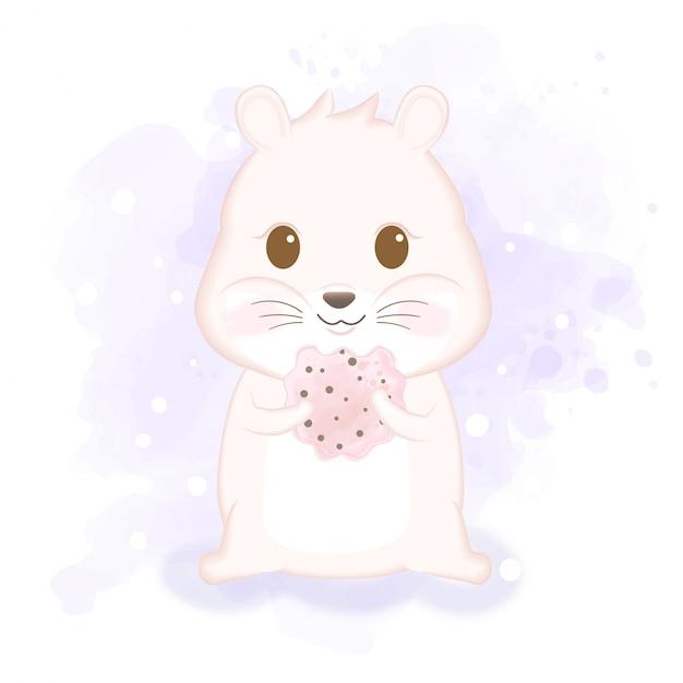 Śliczny Chomik Cieszy Się łasowania Ciastka Ręki Rysującą Zwierzęcą Ilustrację Premium Wektorów