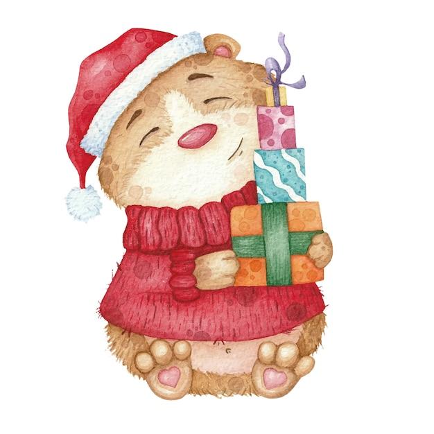 Śliczny chomik w czerwonym swetrze i kapeluszu z prezentami. akwarela ilustracja na boże narodzenie Premium Wektorów