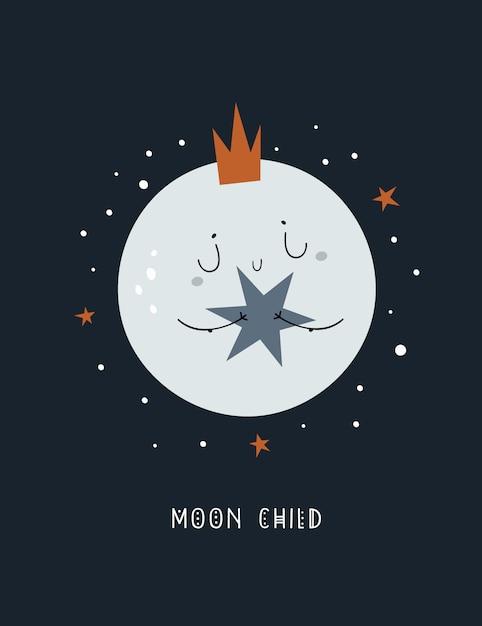 Śliczny dziecinny kreskówka dziecka księżyc w koronie z gwiazdą Premium Wektorów