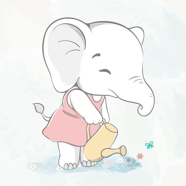 Śliczny dziecko słoń podlewanie kwiatu wodnego koloru kreskówki ręka rysująca Premium Wektorów