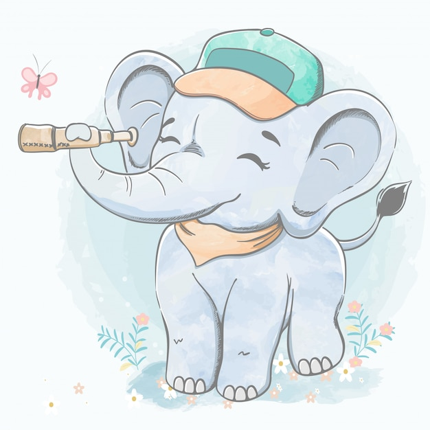 Śliczny Dziecko Słoń Z Ręka Lornetki Wodnego Koloru Kreskówki Ręką Rysującą Ilustracja Premium Wektorów
