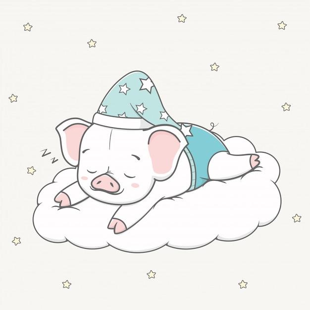 Śliczny dziecko świni sen na obłocznej kreskówki ręce rysującej Premium Wektorów