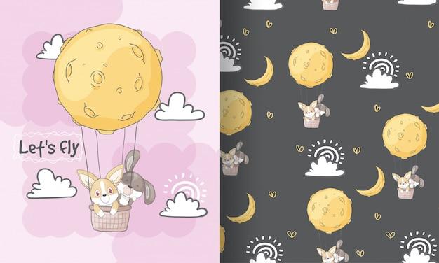 Śliczny dziecko szczeniaka latanie z księżyc bezszwową deseniową ilustracją dla dzieciaków Premium Wektorów