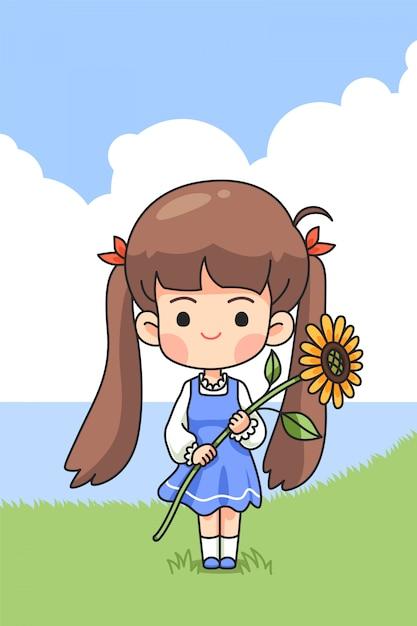 Śliczny Dziewczyny Mienia Słońca Kwiat Na Zieleni Polu W Wiosna Czasie Premium Wektorów