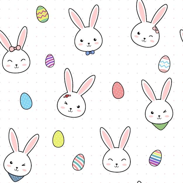 Śliczny Easter Jajka Królika Królika Kreskówki Bezszwowy Wzór Premium Wektorów