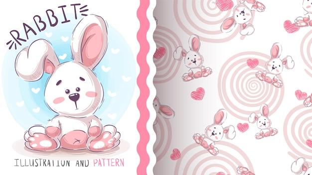 Śliczny easter królik - bezszwowy wzór Premium Wektorów