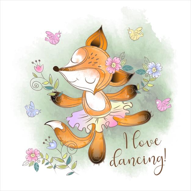 Śliczny fox baleriny taniec. kocham tańczyć Premium Wektorów