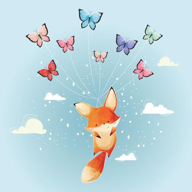 Śliczny foxy latanie z motylami Premium Wektorów