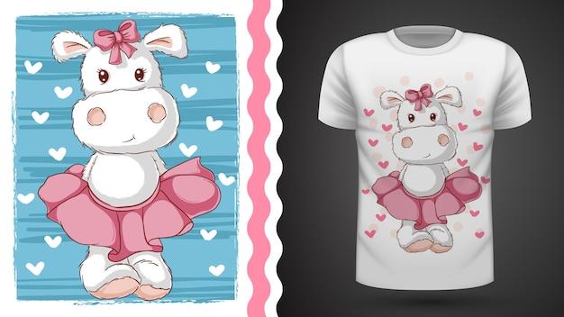 Śliczny hipopotam - pomysł na t-shirt z nadrukiem Premium Wektorów