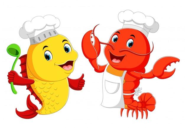 Śliczny homar szef kuchni i ryba szefa kuchni kreskówka Premium Wektorów