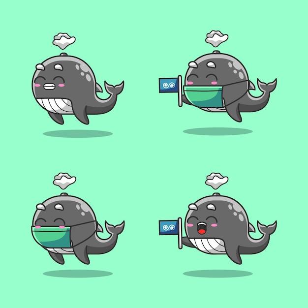 Śliczny Humback Wieloryb W Oceanie świętuje światowego Oceanu Dzień Premium Wektorów