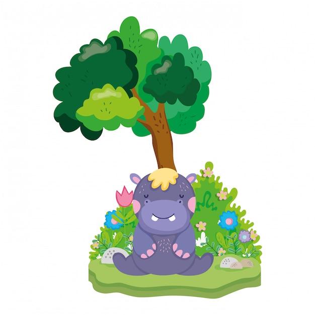 Śliczny i mały charakter hipopotama Premium Wektorów