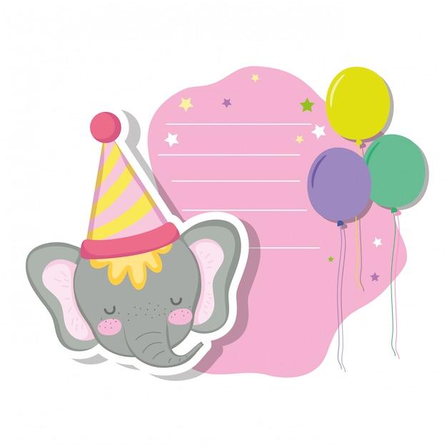 Śliczny i mały słoń z przyjęciem kapeluszem Premium Wektorów