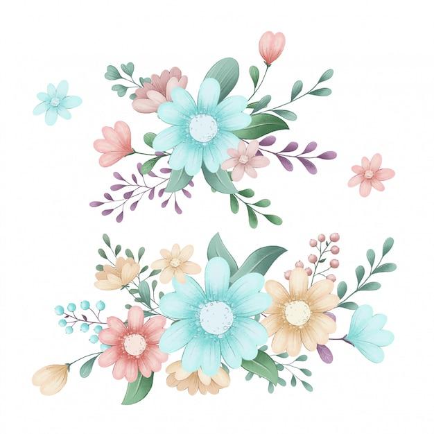 Śliczny Ilustracyjny Ustawiający Lasowi Wiosna Kwiaty Premium Wektorów