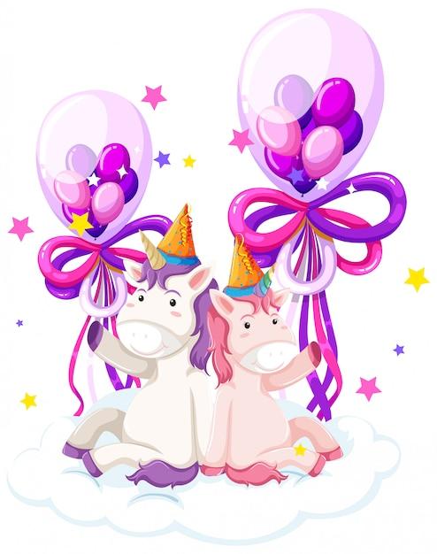 Śliczny jednorożec trzyma urodzinowego balon Darmowych Wektorów