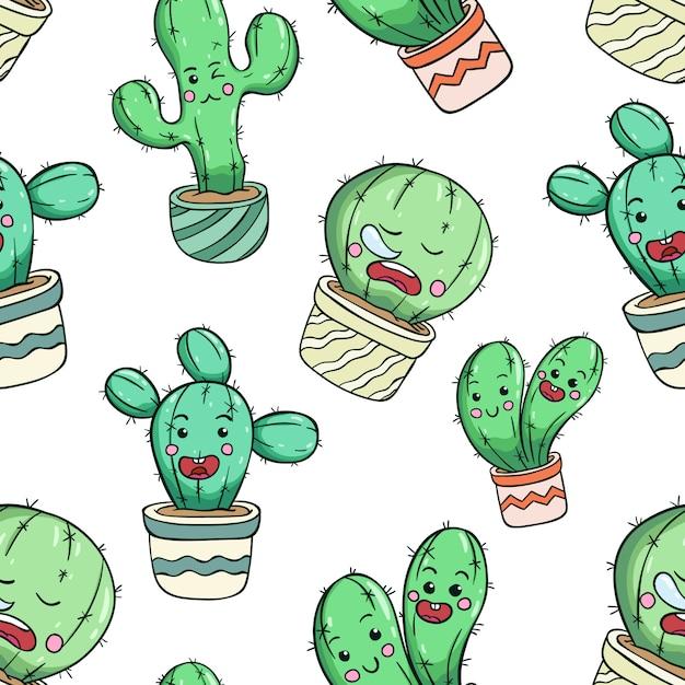 Śliczny Kaktus W Bezszwowym Wzorze Z śmieszną Twarzą Premium Wektorów
