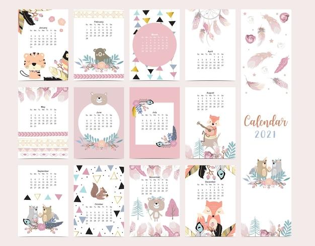 Śliczny Kalendarz W Stylu Boho Z Dzikim Lasem Lisa Piórkowego Dla Dzieci Kid Baby Premium Wektorów