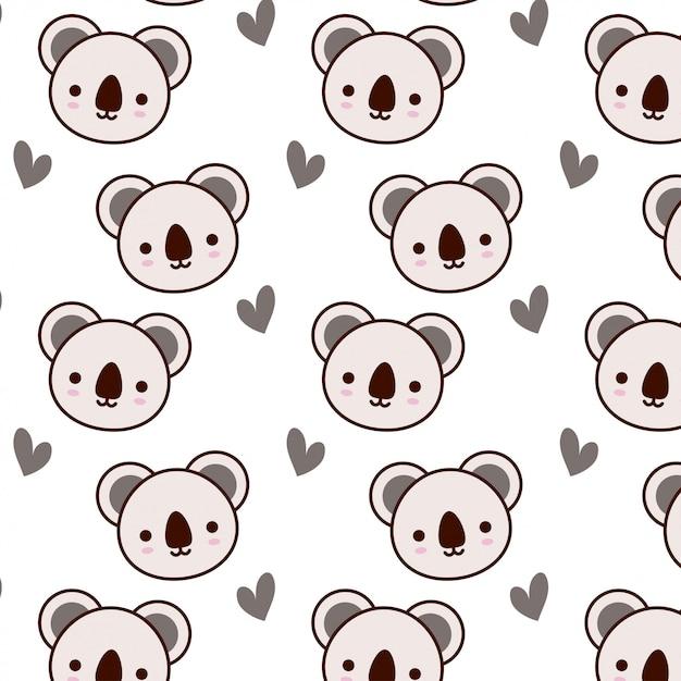 Śliczny Koala Wzór Z Sercem Premium Wektorów