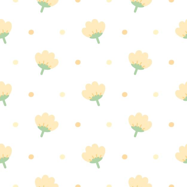 Śliczny Kolor żółty Kwitnie Bezszwowego Deseniowego Tło Premium Wektorów